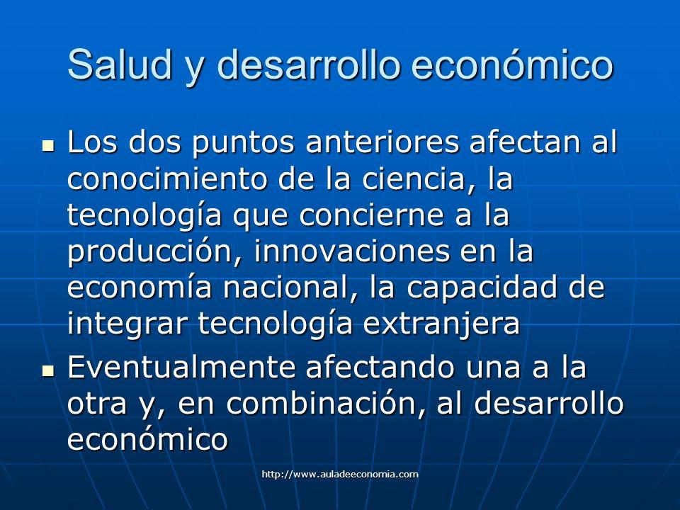 http://www.auladeeconomia.com Salud y desarrollo económico Los dos puntos anteriores afectan al conocimiento de la ciencia, la tecnología que conciern