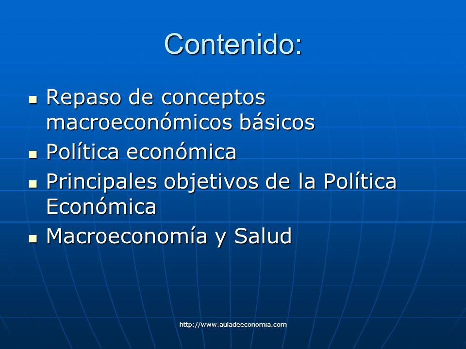 http://www.auladeeconomia.com Contenido: Repaso de conceptos macroeconómicos básicos Repaso de conceptos macroeconómicos básicos Política económica Po