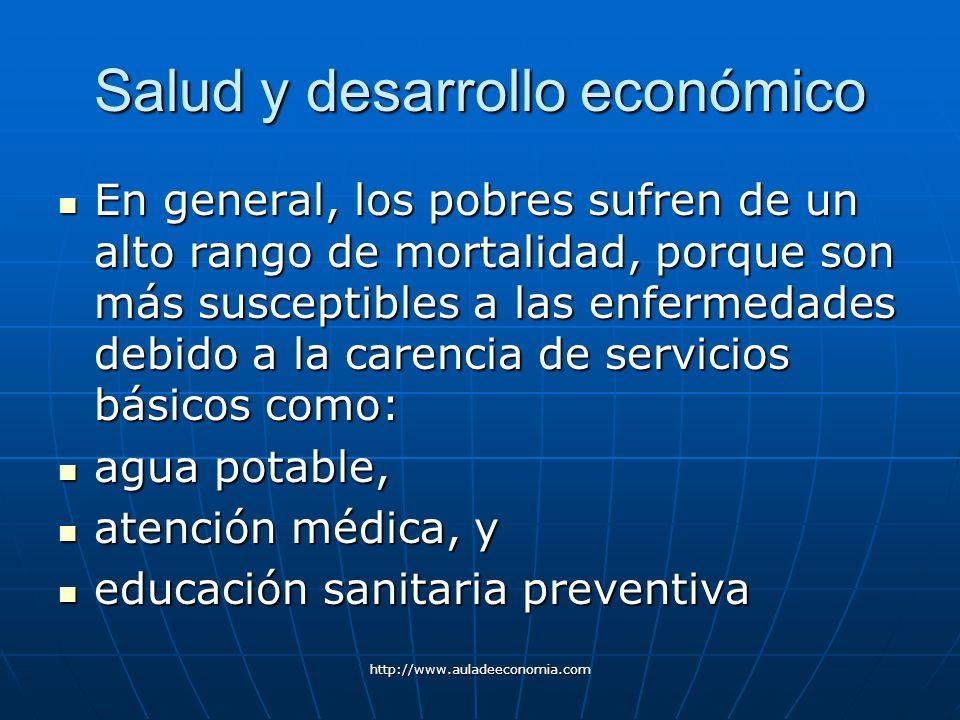 http://www.auladeeconomia.com Salud y desarrollo económico En general, los pobres sufren de un alto rango de mortalidad, porque son más susceptibles a