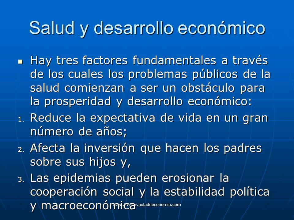 http://www.auladeeconomia.com Salud y desarrollo económico Hay tres factores fundamentales a través de los cuales los problemas públicos de la salud c