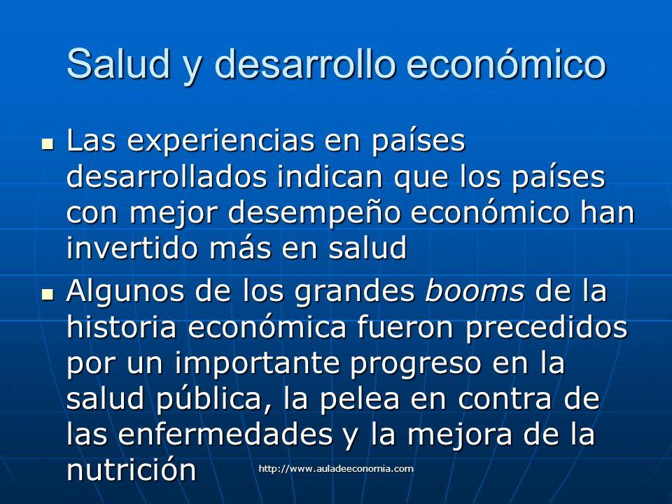 http://www.auladeeconomia.com Salud y desarrollo económico Las experiencias en países desarrollados indican que los países con mejor desempeño económi