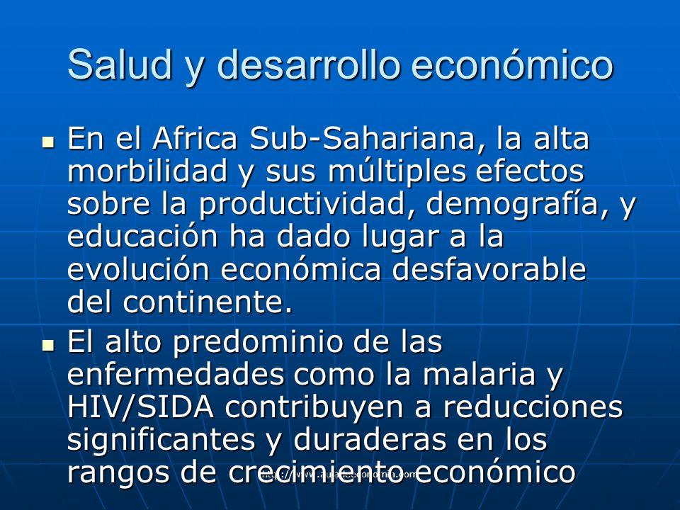 http://www.auladeeconomia.com Salud y desarrollo económico En el Africa Sub-Sahariana, la alta morbilidad y sus múltiples efectos sobre la productivid