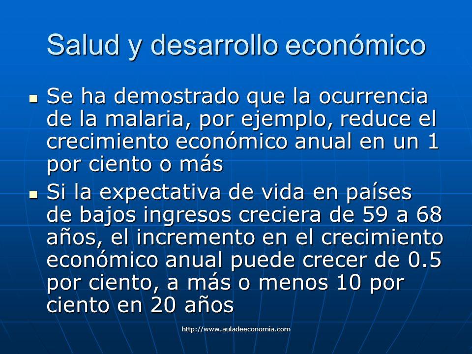 http://www.auladeeconomia.com Salud y desarrollo económico Se ha demostrado que la ocurrencia de la malaria, por ejemplo, reduce el crecimiento económ