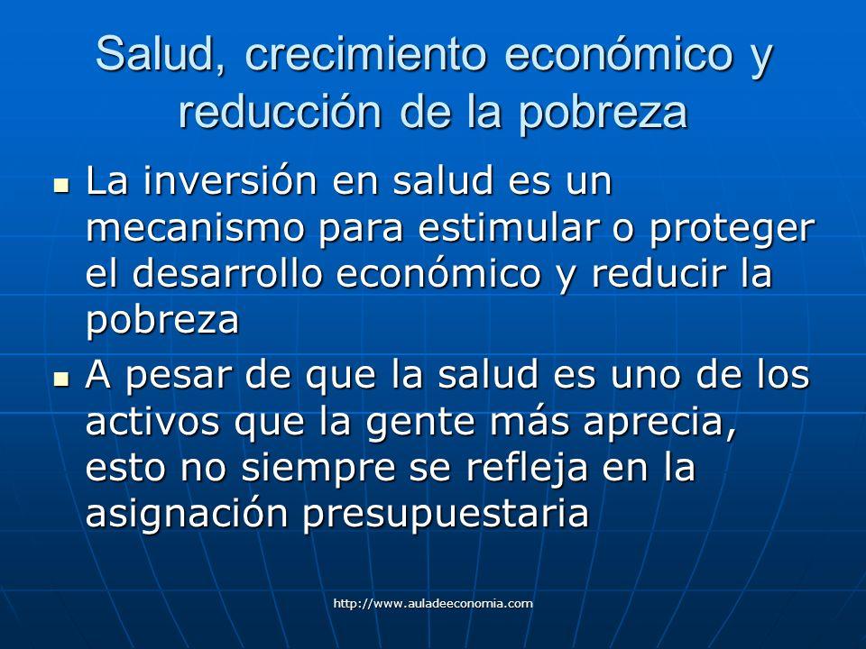 http://www.auladeeconomia.com Salud, crecimiento económico y reducción de la pobreza La inversión en salud es un mecanismo para estimular o proteger e