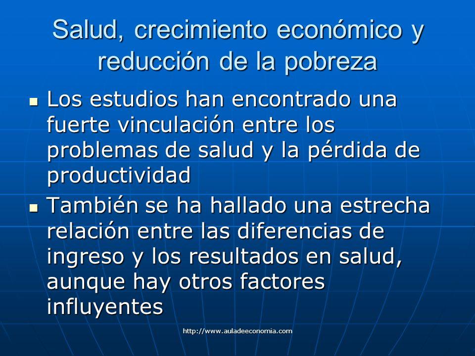 http://www.auladeeconomia.com Salud, crecimiento económico y reducción de la pobreza Los estudios han encontrado una fuerte vinculación entre los prob