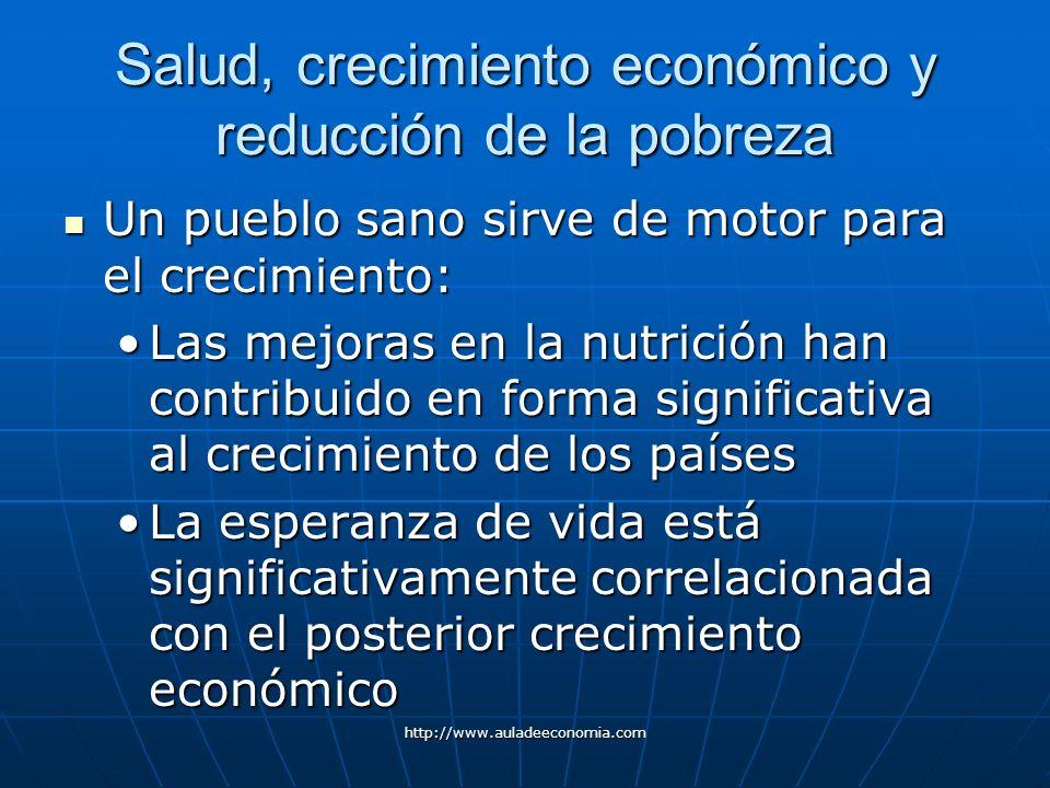 http://www.auladeeconomia.com Salud, crecimiento económico y reducción de la pobreza Un pueblo sano sirve de motor para el crecimiento: Un pueblo sano