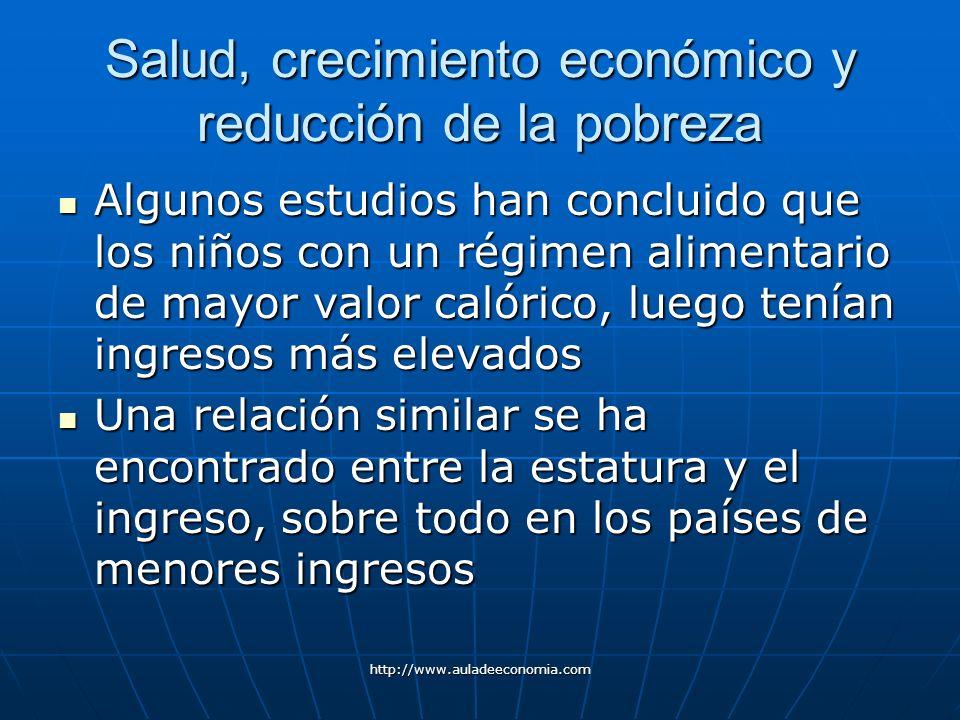 http://www.auladeeconomia.com Salud, crecimiento económico y reducción de la pobreza Algunos estudios han concluido que los niños con un régimen alime