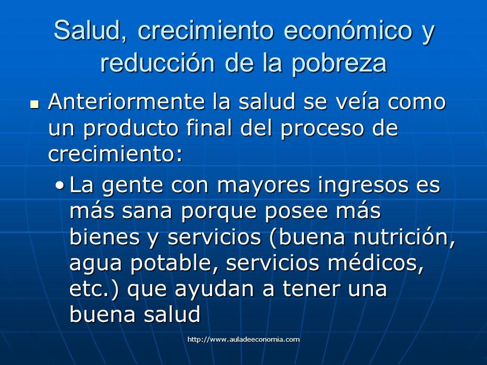 http://www.auladeeconomia.com Salud, crecimiento económico y reducción de la pobreza Anteriormente la salud se veía como un producto final del proceso
