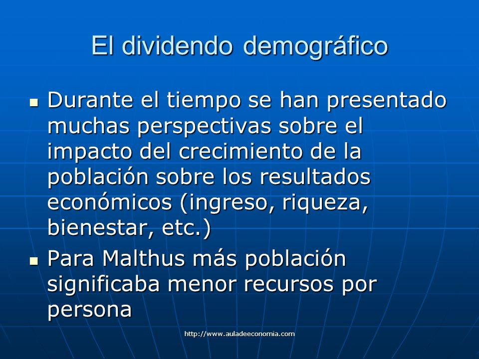 http://www.auladeeconomia.com El dividendo demográfico Durante el tiempo se han presentado muchas perspectivas sobre el impacto del crecimiento de la