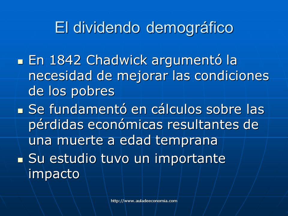 http://www.auladeeconomia.com El dividendo demográfico En 1842 Chadwick argumentó la necesidad de mejorar las condiciones de los pobres En 1842 Chadwi