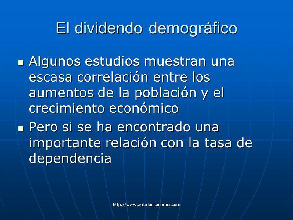 http://www.auladeeconomia.com El dividendo demográfico Algunos estudios muestran una escasa correlación entre los aumentos de la población y el crecim