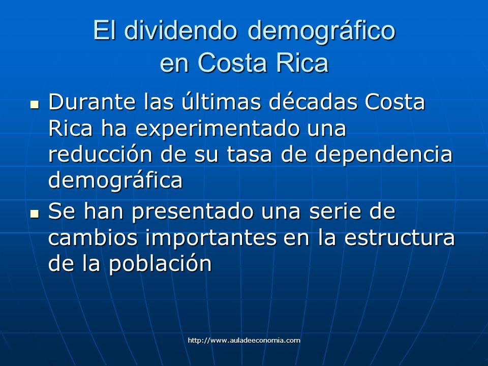 http://www.auladeeconomia.com El dividendo demográfico en Costa Rica Durante las últimas décadas Costa Rica ha experimentado una reducción de su tasa