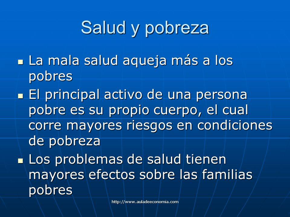 http://www.auladeeconomia.com Salud y pobreza La mala salud aqueja más a los pobres La mala salud aqueja más a los pobres El principal activo de una p