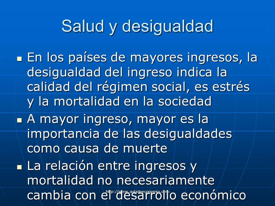http://www.auladeeconomia.com Salud y desigualdad En los países de mayores ingresos, la desigualdad del ingreso indica la calidad del régimen social,