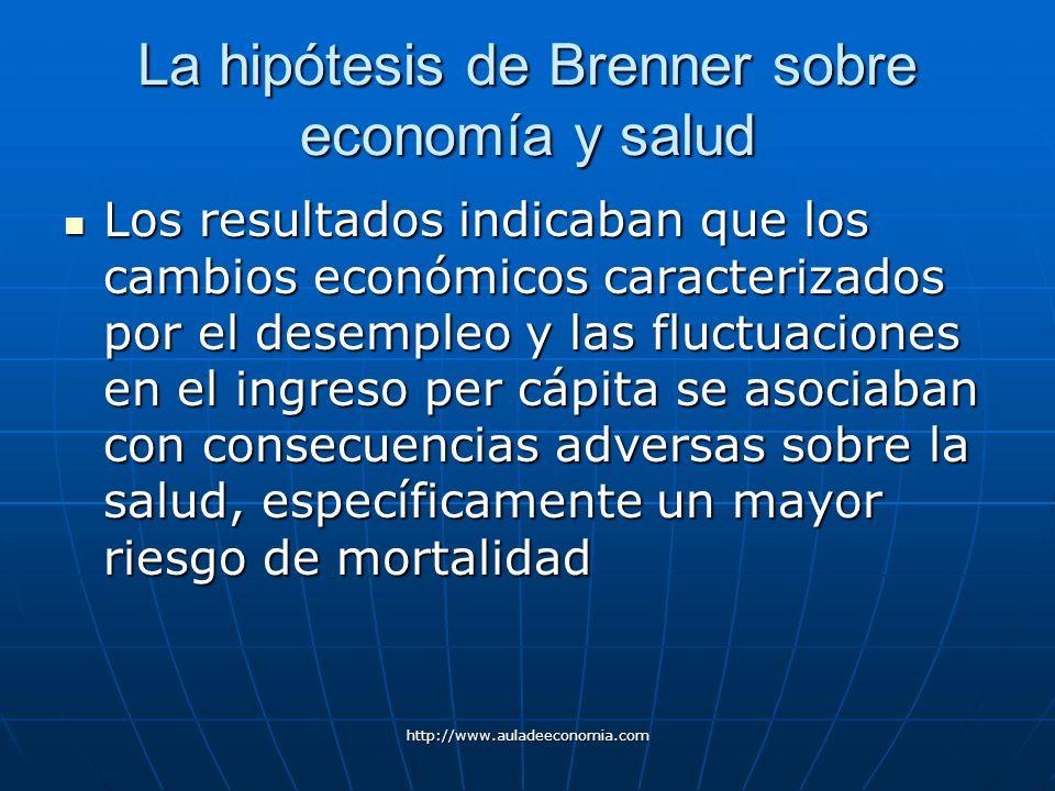 http://www.auladeeconomia.com La hipótesis de Brenner sobre economía y salud Los resultados indicaban que los cambios económicos caracterizados por el