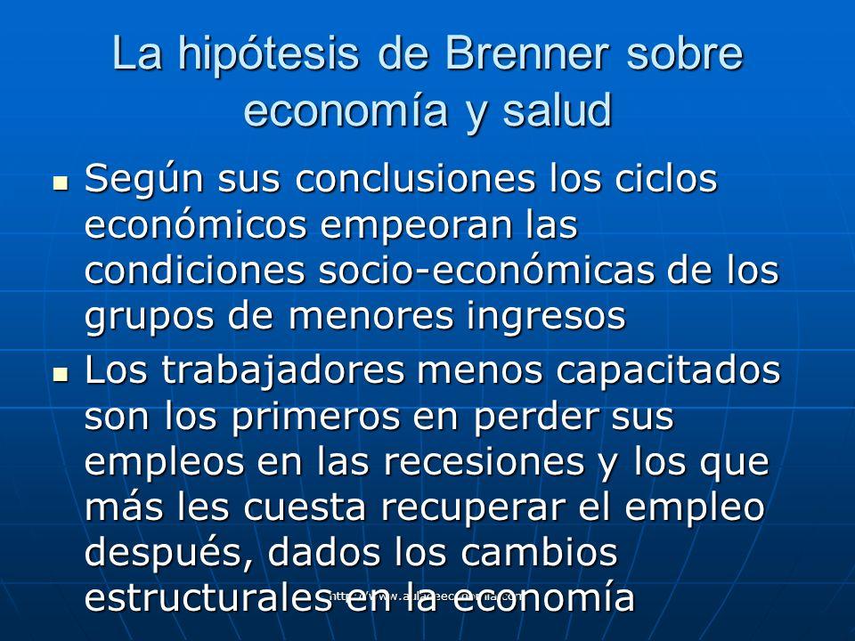 http://www.auladeeconomia.com La hipótesis de Brenner sobre economía y salud Según sus conclusiones los ciclos económicos empeoran las condiciones soc