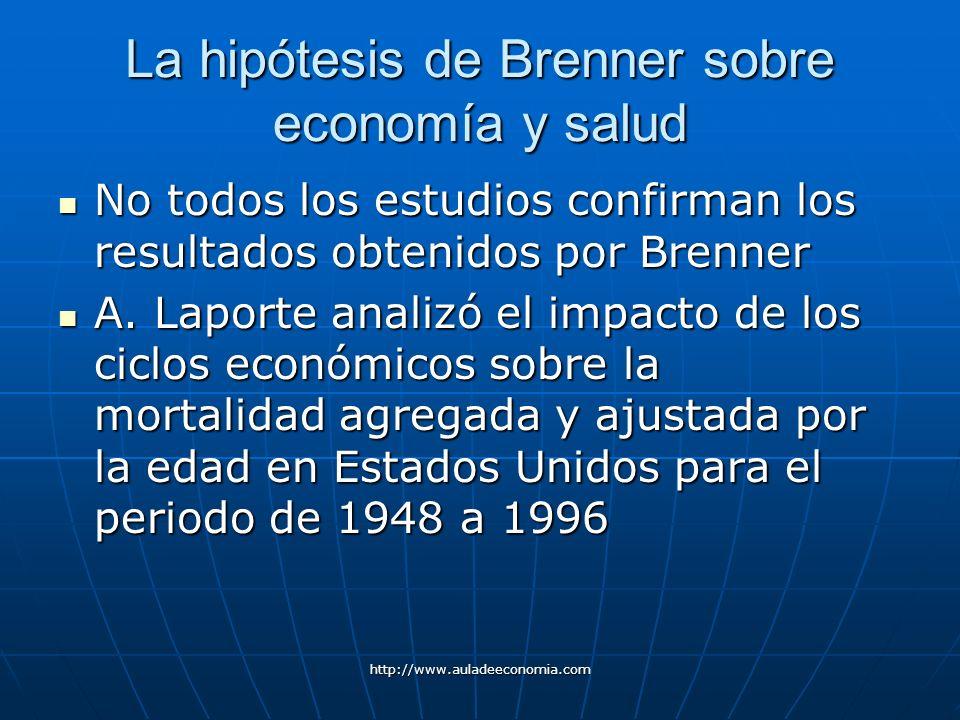http://www.auladeeconomia.com La hipótesis de Brenner sobre economía y salud No todos los estudios confirman los resultados obtenidos por Brenner No t