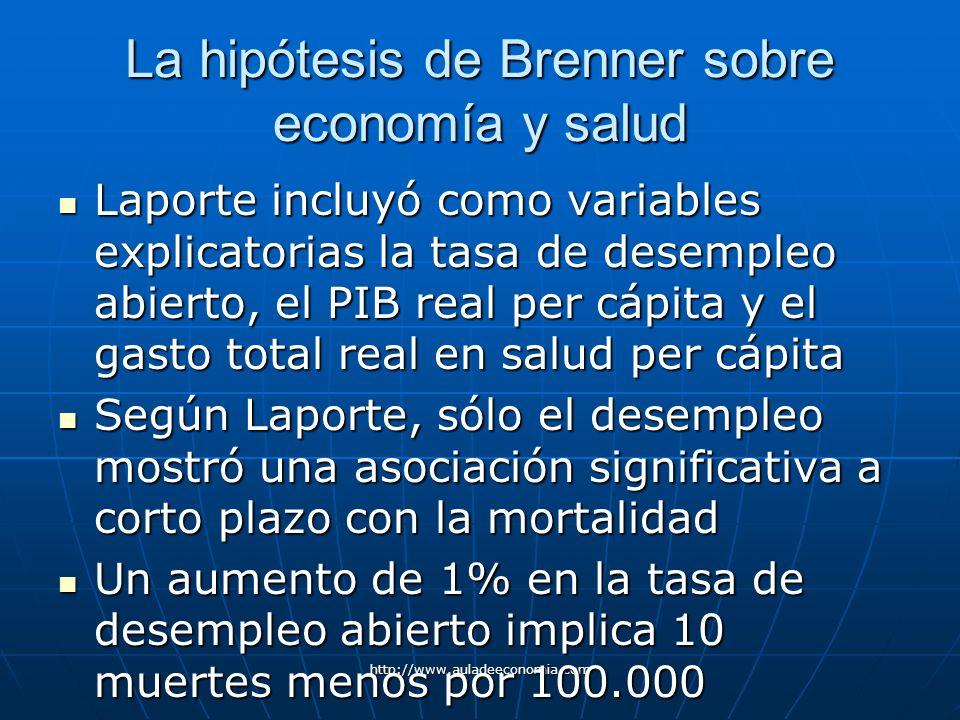 http://www.auladeeconomia.com La hipótesis de Brenner sobre economía y salud Laporte incluyó como variables explicatorias la tasa de desempleo abierto