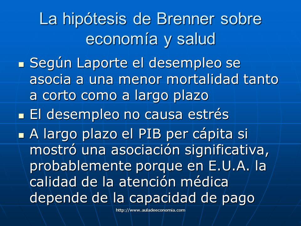 http://www.auladeeconomia.com La hipótesis de Brenner sobre economía y salud Según Laporte el desempleo se asocia a una menor mortalidad tanto a corto