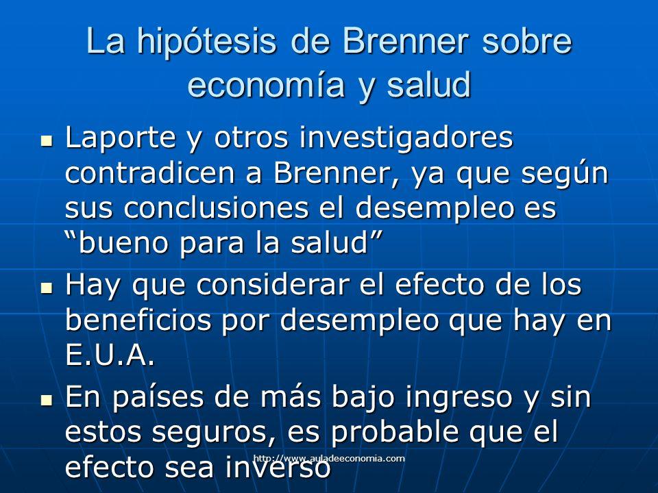 http://www.auladeeconomia.com La hipótesis de Brenner sobre economía y salud Laporte y otros investigadores contradicen a Brenner, ya que según sus co