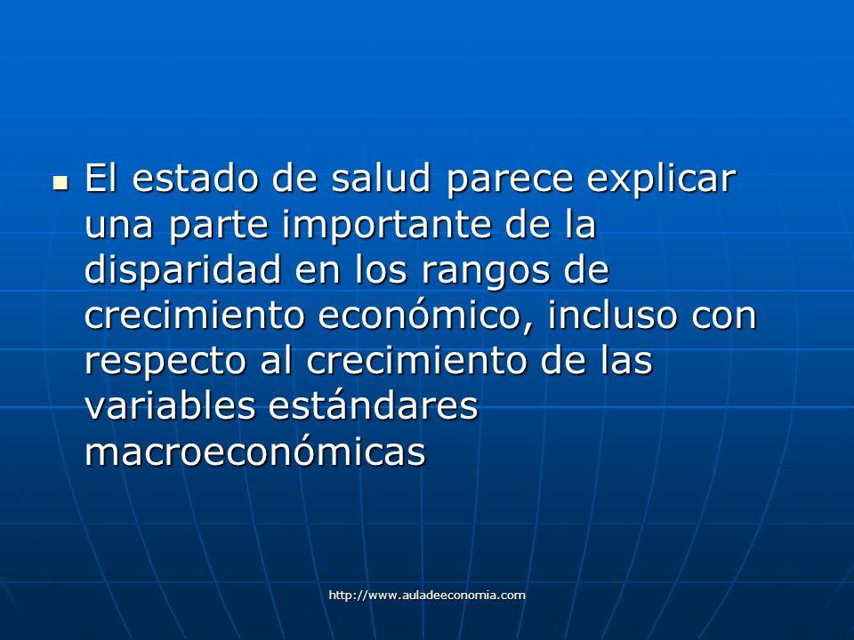 http://www.auladeeconomia.com El estado de salud parece explicar una parte importante de la disparidad en los rangos de crecimiento económico, incluso