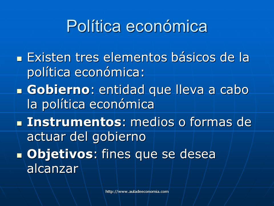 http://www.auladeeconomia.com Política económica Existen tres elementos básicos de la política económica: Existen tres elementos básicos de la polític