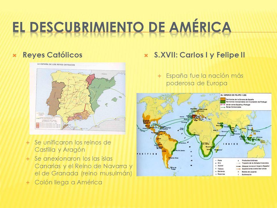 Reyes Católicos Se unificaron los reinos de Castilla y Aragón Se anexionaron los las islas Canarias y el Reino de Navarra y el de Granada (reino musul