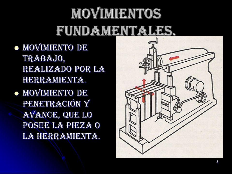 3 Movimientos Fundamentales. Movimiento de trabajo, realizado por la herramienta. Movimiento de trabajo, realizado por la herramienta. Movimiento de p