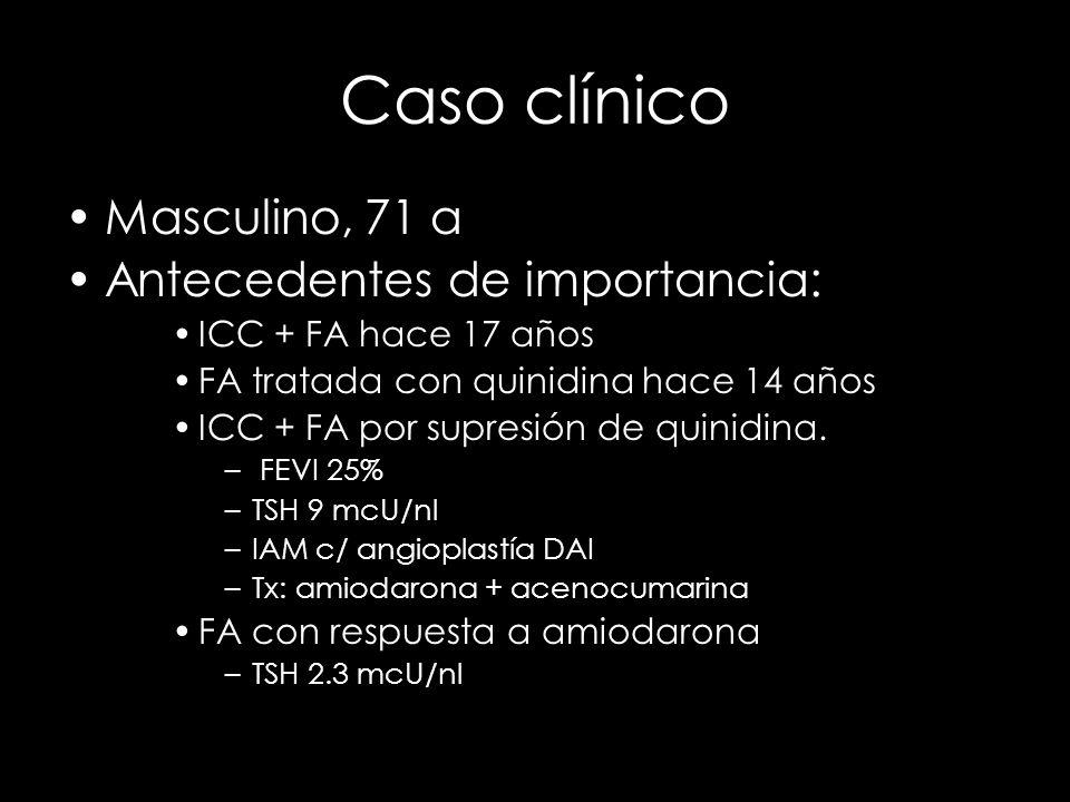 Caso clínico Masculino, 71 a Antecedentes de importancia: ICC + FA hace 17 años FA tratada con quinidina hace 14 años ICC + FA por supresión de quinid