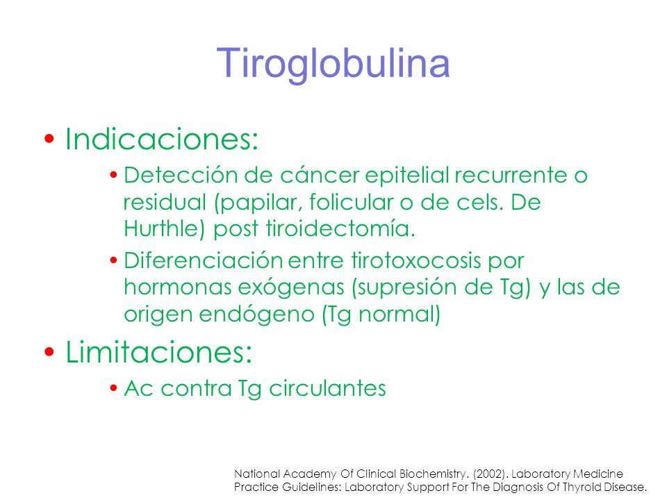 Tiroglobulina Indicaciones: Detección de cáncer epitelial recurrente o residual (papilar, folicular o de cels. De Hurthle) post tiroidectomía. Diferen