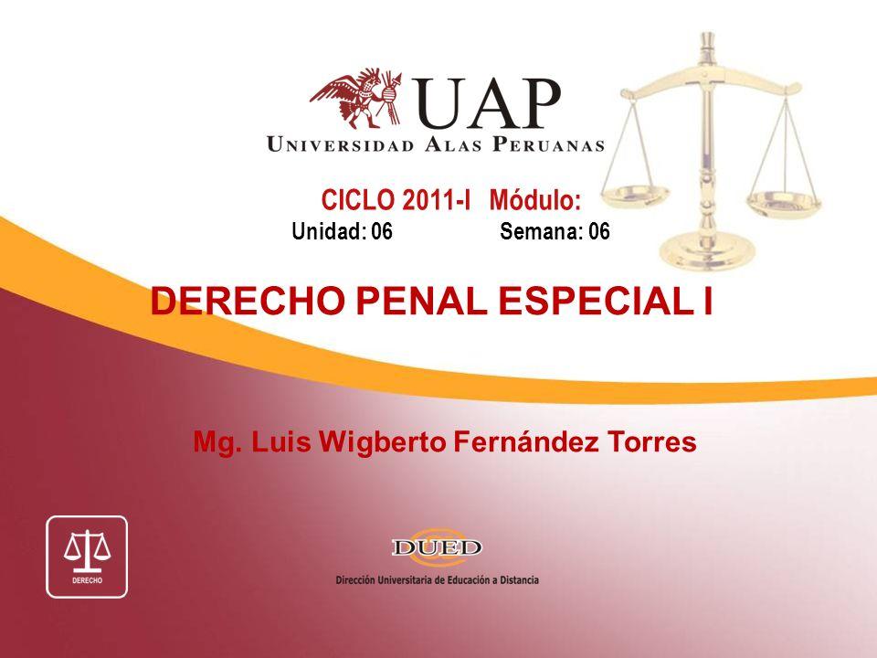 Mg. Luis Wigberto Fernández Torres CICLO 2011-I Módulo: Unidad: 06 Semana: 06 DERECHO PENAL ESPECIAL I