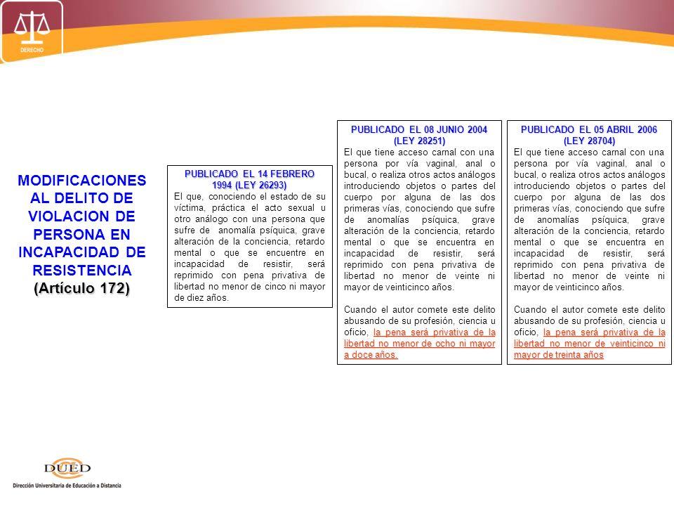 (Artículo 172) MODIFICACIONES AL DELITO DE VIOLACION DE PERSONA EN INCAPACIDAD DE RESISTENCIA (Artículo 172) PUBLICADO EL 14 FEBRERO 1994 (LEY 26293)