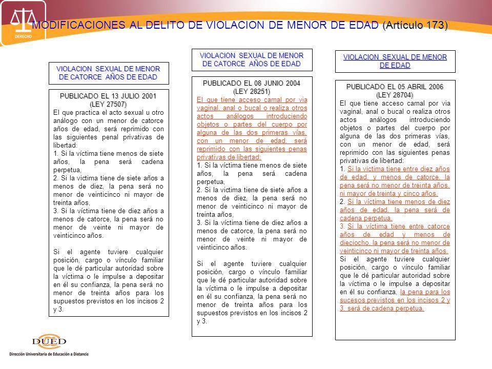 (Artículo 173) MODIFICACIONES AL DELITO DE VIOLACION DE MENOR DE EDAD (Artículo 173) PUBLICADO EL 13 JULIO 2001 (LEY 27507) El que practica el acto se