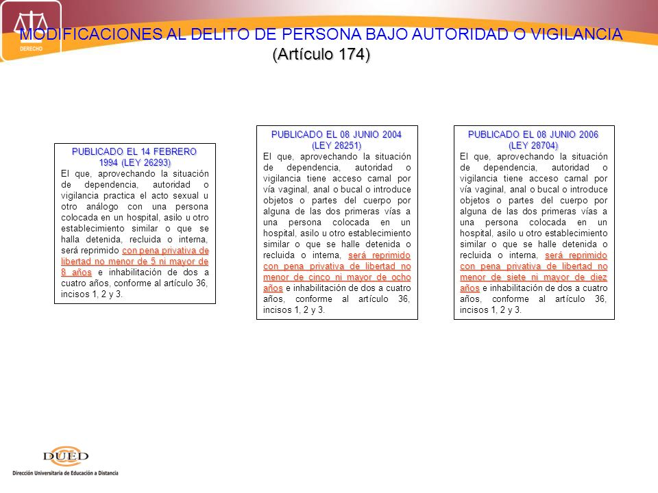 (Artículo 174) MODIFICACIONES AL DELITO DE PERSONA BAJO AUTORIDAD O VIGILANCIA (Artículo 174) PUBLICADO EL 14 FEBRERO 1994 (LEY 26293) con pena privat