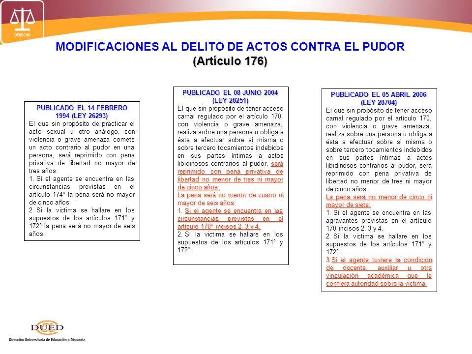 MODIFICACIONES AL DELITO DE ACTOS CONTRA EL PUDOR (Artículo 176) PUBLICADO EL 14 FEBRERO 1994 (LEY 26293) El que sin propósito de practicar el acto se