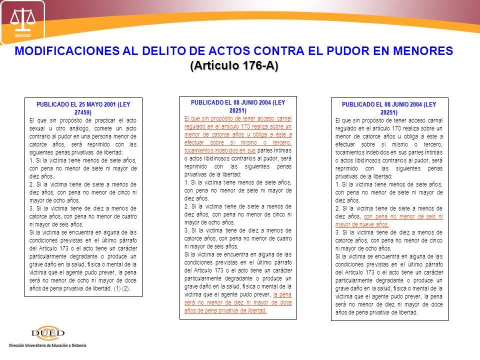 MODIFICACIONES AL DELITO DE ACTOS CONTRA EL PUDOR EN MENORES (Artículo 176-A) PUBLICADO EL 25 MAYO 2001 (LEY 27459) El que sin propósito de practicar