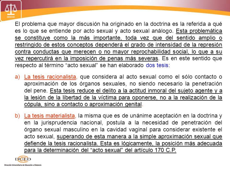 MODIFICACIONES AL DELITO DE VIOLACION DE PERSONA EN ESTADO DE INCONSCIENCIA O EN LA IMPOSIBILIDAD DE RESISTIR (Artículo 171) PUBLICADO EL 14 FEBRERO 1994 (LEY 26293) El que practica el acto sexual u otro análogo con una persona, después de haberla puesto con ese objeto en estado de inconsciencia o en la imposibilidad de resistir, será reprimido con pena privativa de libertad no menor de cinco ni mayor de diez años.