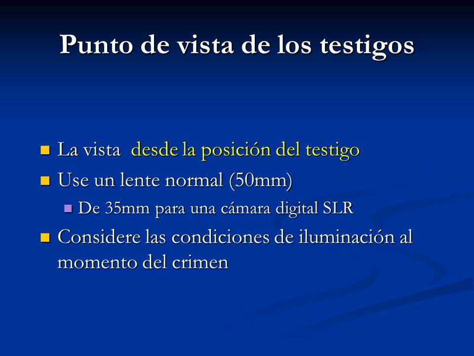 Punto de vista de los testigos La vista desde la posición del testigo La vista desde la posición del testigo Use un lente normal (50mm) Use un lente n