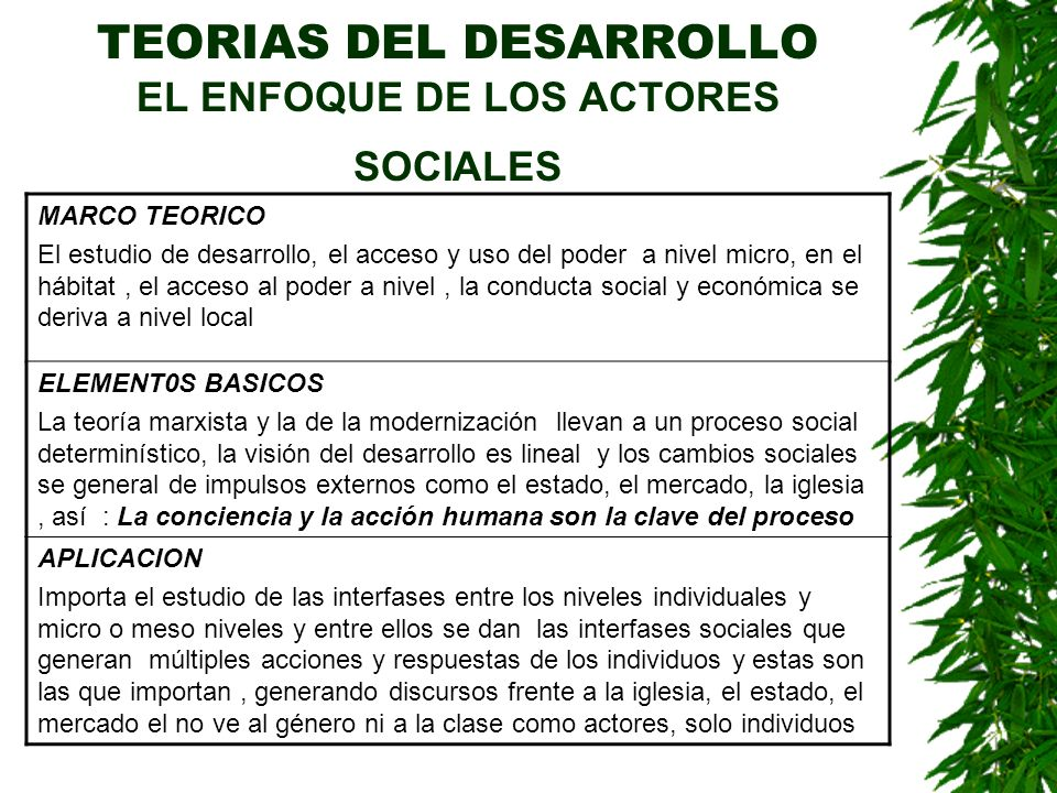 TEORIAS DEL DESARROLLO EL ENFOQUE DE LOS ACTORES SOCIALES MARCO TEORICO El estudio de desarrollo, el acceso y uso del poder a nivel micro, en el hábit