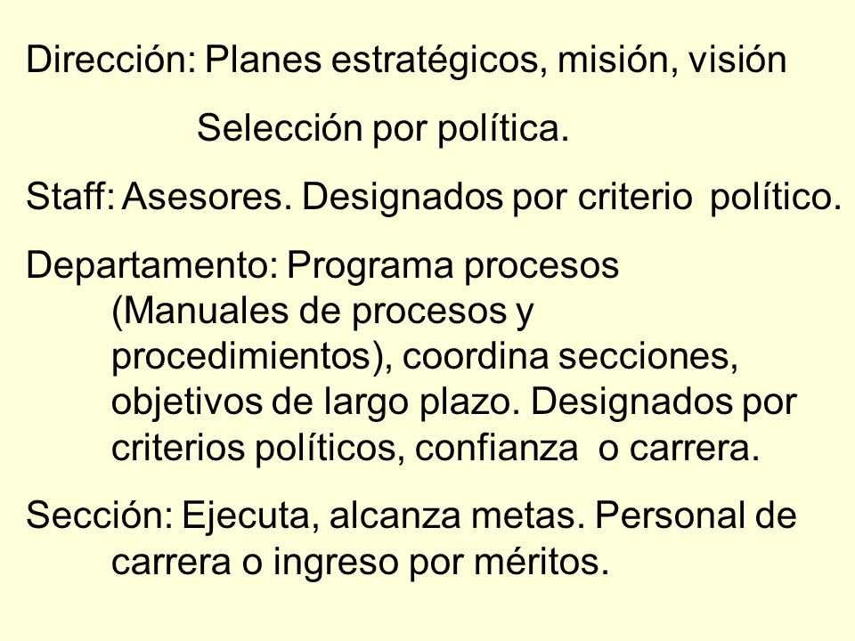 Dirección: Planes estratégicos, misión, visión Selección por política. Staff: Asesores. Designados por criterio político. Departamento: Programa proce