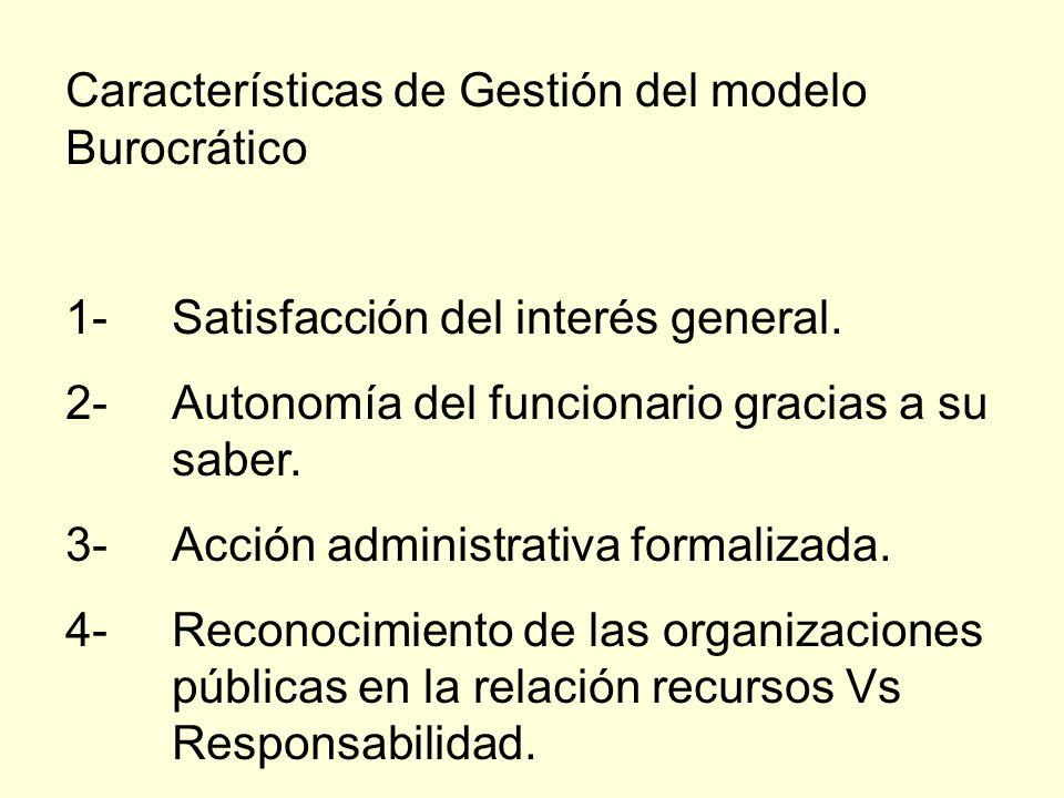 Características de Gestión del modelo Burocrático 1-Satisfacción del interés general. 2-Autonomía del funcionario gracias a su saber. 3-Acción adminis