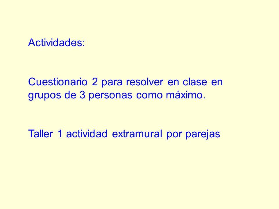 Actividades: Cuestionario 2 para resolver en clase en grupos de 3 personas como máximo. Taller 1 actividad extramural por parejas
