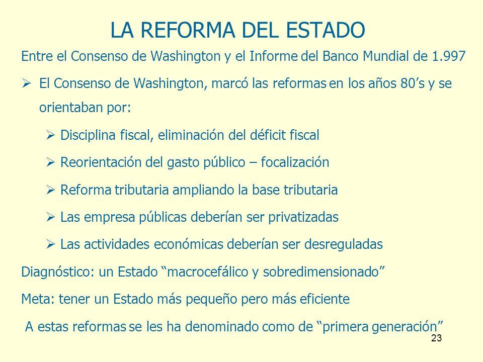 23 LA REFORMA DEL ESTADO Entre el Consenso de Washington y el Informe del Banco Mundial de 1.997 El Consenso de Washington, marcó las reformas en los