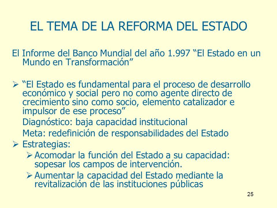 25 EL TEMA DE LA REFORMA DEL ESTADO El Informe del Banco Mundial del año 1.997 El Estado en un Mundo en Transformación El Estado es fundamental para e