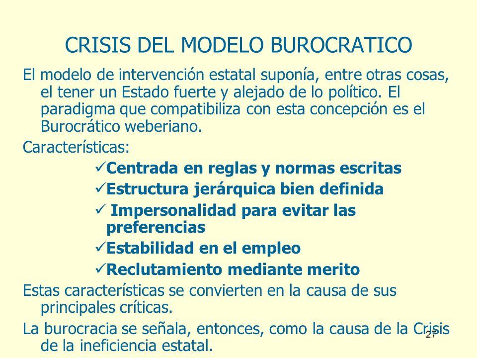 27 CRISIS DEL MODELO BUROCRATICO El modelo de intervención estatal suponía, entre otras cosas, el tener un Estado fuerte y alejado de lo político. El