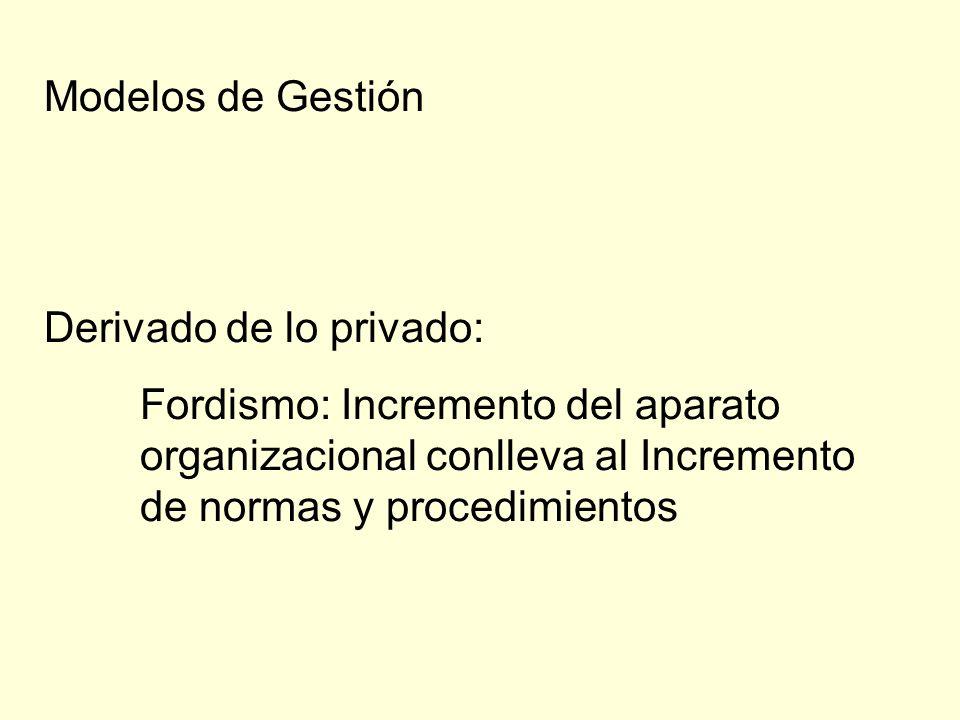 Modelos de Gestión Derivado de lo privado: Fordismo: Incremento del aparato organizacional conlleva al Incremento de normas y procedimientos