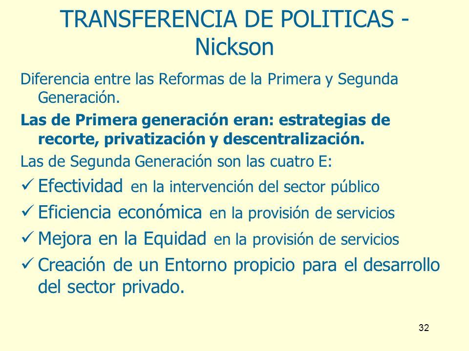 32 TRANSFERENCIA DE POLITICAS - Nickson Diferencia entre las Reformas de la Primera y Segunda Generación. Las de Primera generación eran: estrategias