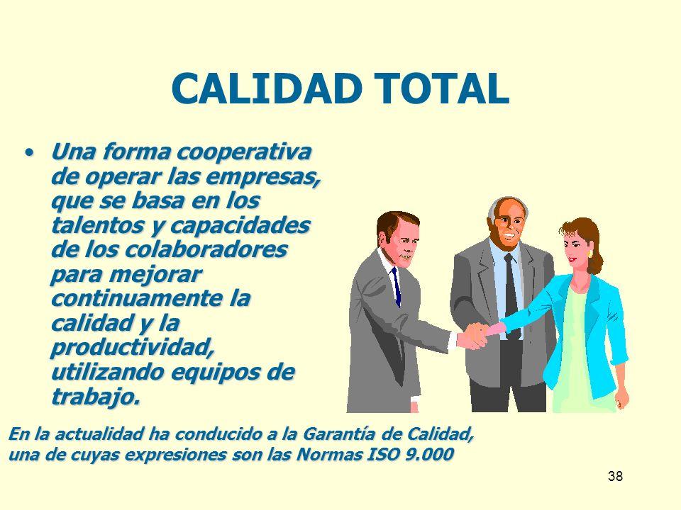 38 CALIDAD TOTAL Una forma cooperativa de operar las empresas, que se basa en los talentos y capacidades de los colaboradores para mejorar continuamen