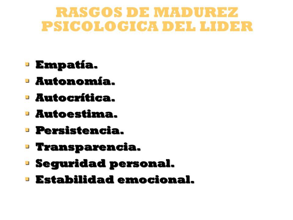 RASGOS DE MADUREZ PSICOLOGICA DEL LIDER Control y dominio emocional.