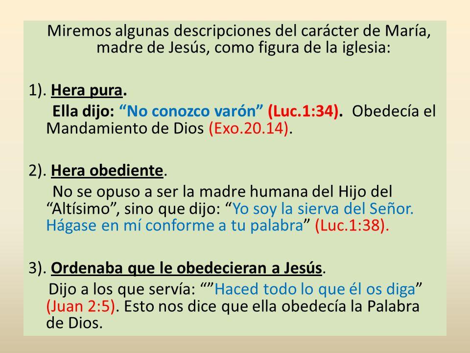 Miremos algunas descripciones del carácter de María, madre de Jesús, como figura de la iglesia: 1). Hera pura. Ella dijo: No conozco varón (Luc.1:34).